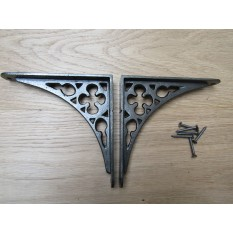"Pair Of 6"" Gothic Shelf Brackets Antique Iron"