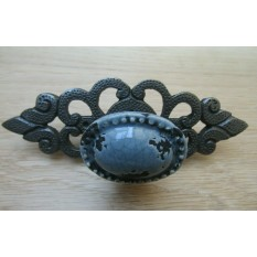 Oval Grey Cracked Glazed Knob With Antique Iron Back plate
