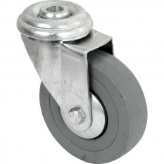 Grey Rubber bolt hole fixing castor 75mm