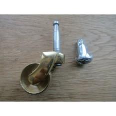 Furniture Grip Neck Peg Castor Polished Brass