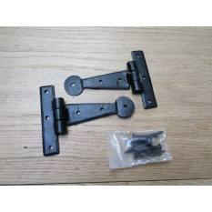 "Pair of Penny End Cabinet Hinges 4"" Black Wax"