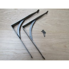 Pair Of Hand Forged Penny End Shelf Brackets 8""