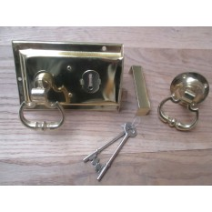 CLASSIC RETRO STYLE POLISHED BRASS DOOR RIM LOCK CARRIAGE KNOB SET HANDLES