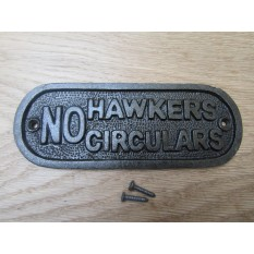 Cast Iron No Hawkers Circulars Plaque
