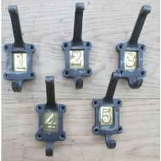 Brass Insert 1-5 Numbered Coat Hooks Antique Iron