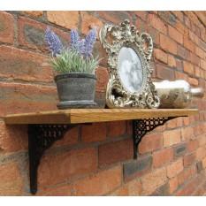 Solid Oak Wood Handmade Shelves Jalli Lattice Antique Wax Oil 58cm