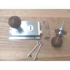 CHROME- CLASSIC OLD ENGLISH RIM DOOR LOCK KNOB HANDLE- Beehive Teak + Chrome