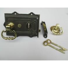VINTAGE VICTORIAN STYLE CAST IRON RIM LOCK + BRASS CARRIAGE RIM DOOR HANDLES