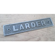 Antique Iron Larder Door Sign Notice Plate Plaque