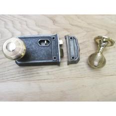 Large Rim Latch Antique Iron & Beehive Rim Brass Set