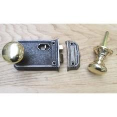 Large Rim Latch Antique Iron & Victorian Round  Rim Brass Set