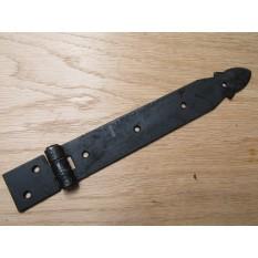 Pair of Large Steel strap Hinges Black Antique