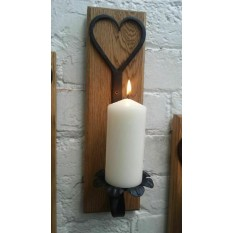 Hand forged Candle holder on wood base Heart Floral Large