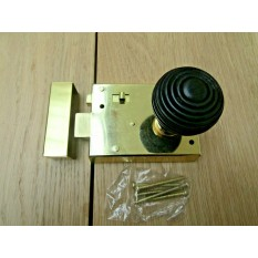 "4"" Rim Latch Brass & Beehive Ebony + Brass Set"