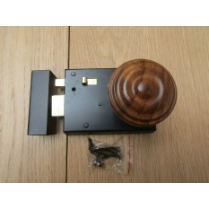 "4"" Rim Latch Black & Bun Rimmed Teak + Brass Set"