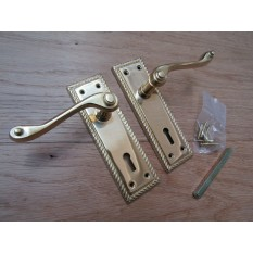 Lever Lock Door Handle Georgian Polished Brass