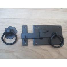 Left Handed Black Wax Ring Door Latch Handles Gate Shed