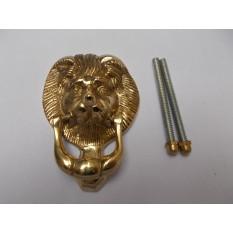 Small Lion Head Door Knocker Polished Brass