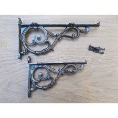 Pair Of Small Lipped Shelf Brackets Antique Iron
