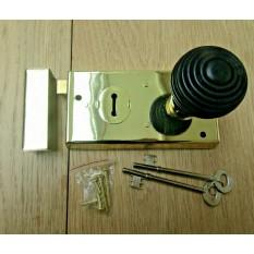 "5.5"" Rim Lock Brass & Beehive Ebony + Brass Set"