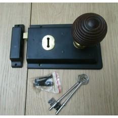 "6"" Rim Lock Black & Beehive Teak + Brass Set"
