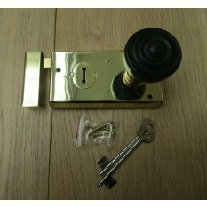 "5.5"" Rim Lock Brass & Bun Rimmed Ebony + Brass Set"