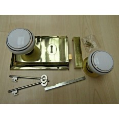 "6"" Rim Lock Brass & White Ceramic Brass Rimmed Set"