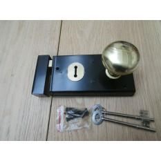 "5.5"" Rim Lock Black & Victorian Rim Brass Set"