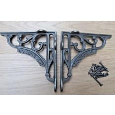 "Pair Of 6"" London SW1 Shelf Brackets Antique Iron"