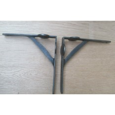 """Pair Of 8"""" Lugged Industrial Gallows Shelf Brackets Antique Iron"""