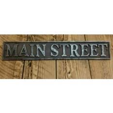"""17"""" Antique Iron Main Street Plaque"""