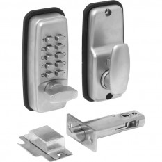 Mini Push Button Digital Lock with Holdback Satin Chrome