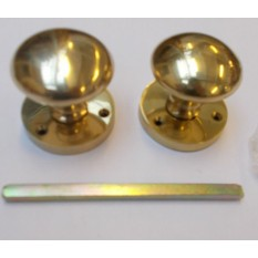 Mortice Door knob Polished brass Round Mushroom