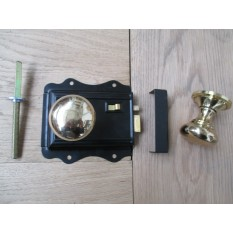 POLISHED BRASS TRADITIONAL CLASSIC STYLE BEDROOM BLACK RIM DOOR LATCH LOCK & RIM KNOB HANDLES- MUSHROOM/ROUND RIM KNOB