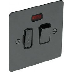 Black Nickel Switch Plate Neon Fused Spur Switch