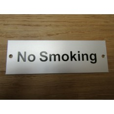 Rectangular Satin Aluminium No Smoking Door Sign