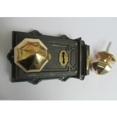 VINTAGE VICTORIAN STYLE CAST IRON RIM LOCK + BRASS OCTAGONAL RIM DOOR HANDLES