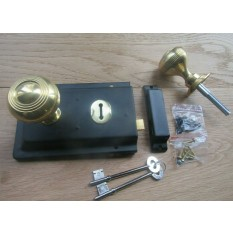 "6"" Rim Lock Black & Regency Rimmed Brass Knob  Set"