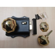 Olde Latch Black & Octagonal Rim Polished Brass Set