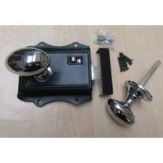 Olde Latch Black & Oval Rim Polished Chrome Set