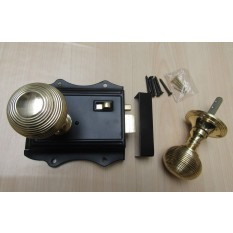 Olde Latch Black & Reeded Rim Polished Brass Set