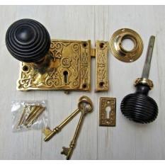 Ornate Rim Lock & Bun Rimmed Ebony + Brass Set