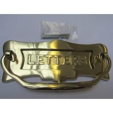 """10"""" Letters Embossed Postal Door Knocker Polished Brass"""