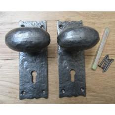 Oval Knob Lever Lock Handles Antique Iron