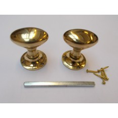 Mortice Door knob Polished Brass Oval