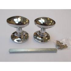 Mortice Door knob Polished Chrome Oval