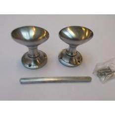 Mortice Door knob Satin Chrome Oval