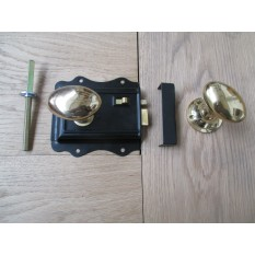 POLISHED BRASS TRADITIONAL CLASSIC STYLE BEDROOM BLACK RIM DOOR LATCH LOCK & RIM KNOB HANDLES- OVAL RIM KNOB