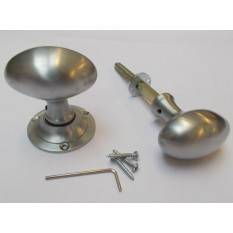 Rim door knob set Oval Satin Chrome