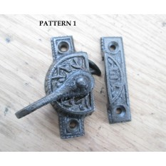 Cast iron Vintage old Victorian design window fitch fastener window latch lock- PATTERN 1